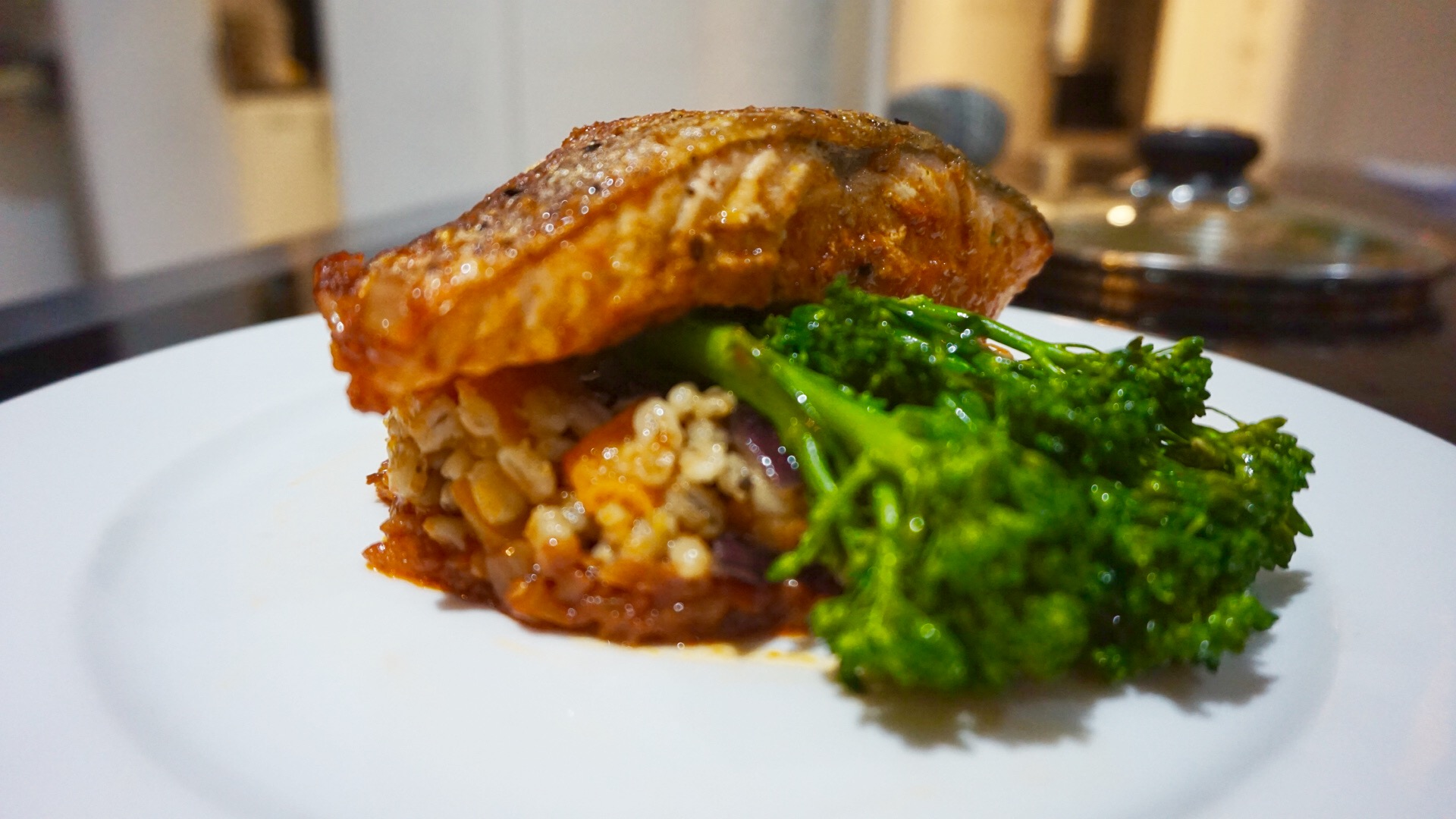 Salmon Steak on a bed of Pearl Barley Greens and Roasted Butternut Squash