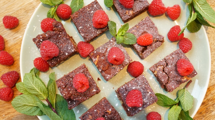 Savory Beetroot Brownies with raspberries and mint
